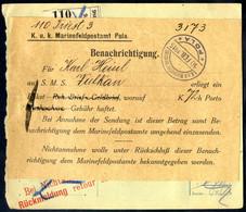Cover 1915/16, Lot Vier Postbegleit - Adressen FP I. WK, über Uniform Von Triest 10.2.1915 An Die S.M.S. Vulkan Mit Rare - Unclassified