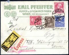 Cover 1915/17, 2 Privatganzsachen Der Firma Pfeiffer (Puupen + Spielwaren), 15 Heller Mit Zusatz 5 H. Nach Hamburg Und 1 - Unclassified