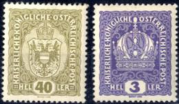 ** 1916, Krone 3 H Und Wappen 40 H, Dickes Papier, Postfrisch, Befunde Soecknick, ANK 185y,194y - Unclassified