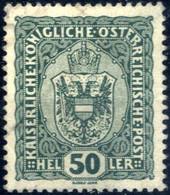 O 1916, Wappen 50 H Schwärzlichopalgrün, Dickes Papier, Befund Soecknick, ANK 195y - Unclassified
