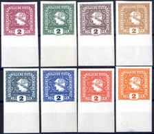 ** 1916, Zeitugsmarken, 2 Heller, Acht Postfrische Ungezähnte Unterrandmarken In Verschiedenen Probefarben, Erlesene Pra - Unclassified
