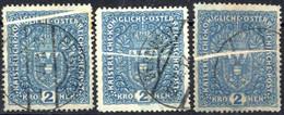 O 1917, 2 Kronen Wappen, Drei Gestempelte Exemplare Mit Markanter Quetschfalte, Eines Auf Grauem Stichtiefdruckpapier, A - Unclassified