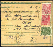 Cover 1917, Postanweisung Von Luttenberg Am 16.10. Nach Triest Frankiert Durch 2 10 H. (Ausgabenmischfrankatur Franz Jos - Unclassified