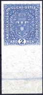 (*) 1917/19, 2 Kronen Hellblau Auf Faserpapier, Ungezähnt Vom Unterrand (35 Mm Mit Zarter Randleiste In Der Markenfarbe) - Unclassified