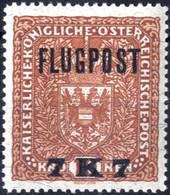 ** 1918, Flugpost 7 K / Auf 10 K. Rötlichbraun In LZ 12 1/2, Postfrisches Erlesenes Prachtstück, Attest Ferchenbauer, AN - Unclassified