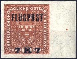 ** 1918, Flugpost 7 K 7 Auf 10 K. Rötlichbraun Auf Faserpapier, Ungezähnt, Rechts 15 Mm Randstück Mit Nadelpunkt, Postfr - Unclassified
