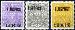 ** 1918, Flugpostsatz Komplett Auf Grauem X-Papier Postfrisch, 1,50 K Mit Aufdruck Nach Rechts, 4 K Mit Aufdruck Nach Li - Unclassified