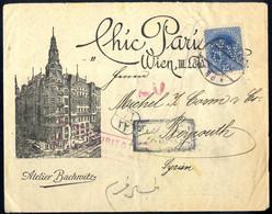 """Cover 1918, Werbebrief Von Wien 45 Am 1.2. Nach Beyrouth Frankiert Mit Kaiser Karl I 25 H. Mit Perfin """"AB"""" (Atelier Bach - Unclassified"""
