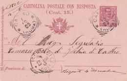 ITALIA - REGNO - CANINO (VITERBO) - INTERO POSTALE C. 7 1/2 CON RISPOSTA C. 15 - VG PER ISCHIA DI CASTRO (VT) - Stamped Stationery