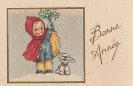 1032 -  MIGNONETTE BONNE ANNEE . FILLETTE PETIT CHIEN GUI PAYSAGE ENNEIGE  . PHOTOCHROM 194 - Neujahr