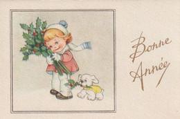 1032 -  MIGNONETTE BONNE ANNEE .FILLETTE PETIT CHIEN HOUE  PAYSAGE ENNEIGE  . PHOTOCHROM 194 - Neujahr