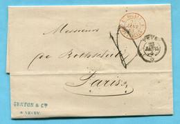 Faltbrief Von Vevey Nach Paris An Monsieur Rothschild 1863 - ...-1845 Prephilately
