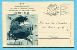 Ausstellungsbrief Schweiz. Landesausstellung Zürich 1939 Gestempelt Bahnpost - Covers & Documents