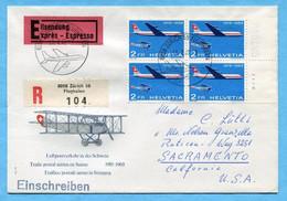 Ersttags - Brief Von Zürich Flughafen Nach Sacramento 1969 Mit Viererblock - Covers & Documents