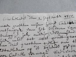 Koekelare 1/9/1750, Brief Van Jan De Laetere Gericht Aan Ontvanger Cauteau Bisdom Brugge, Betreft Borgstelling - Manuscripts