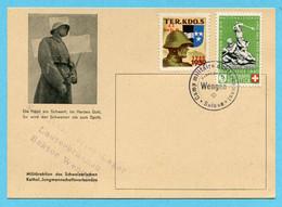 Postkarte Gestempelt Camp Militaire D'internement En Suisse Wengen Und Kdo. Internierter-Lager Lauterbrunnen - Documents