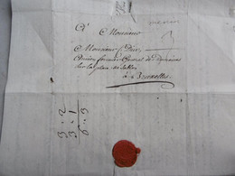 LAC De Menin (griffe) Vers BRUXELLES Place De Sablon, Fermier Des Domaines 20 Janvier 1746, Sceau En Cire 3 Solz Port - Historical Documents