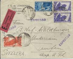 1932 - LETTERA ESPRESSO  DIRETTA IN SVIZZERA AFFRANCATA CON LIRE 2,50 ESPRESSO MARCIA SU ROMA E COMPLEMENTARI - - Storia Postale