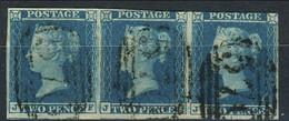 GB 1841 SG N. 14 - PENNY BLUE Rara Striscia Di 3,  Lettere JF, JG, GH, Grandi Margini, Usata Firma E. Diena - Used Stamps