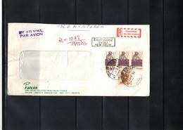 India 1996 Interesting Airmail Registered Letter - Brieven En Documenten