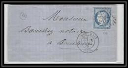 1618 Nord Cérès N°60 T3 Gc 537 Cambrai (cambray) Pour Bouchain 1875 OR ORIGINE RURALE Lsc Lettre Cover France - 1801-1848: Precursors XIX