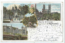 MONTREAL : Multi Vues (Notre Dame Church - Royal Victoria Hospital) Hearty Greetings - Précurseur Voyagée 1899 - Montreal