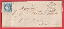 N°60 GC 2453 MONTESQUIOU SUR LOSSE GERS CAD TYPE 16 POUR TOULOUSE INDICE 9 - 1849-1876: Klassik