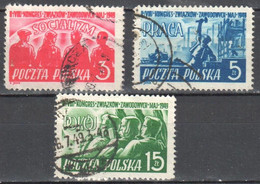 Poland 1949 - Trade Union Congress - Mi.527-29  - Used - Used Stamps