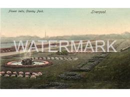 LIVERPOOL FLOWER BEDS STANLEY PARK OLD COLOUR  POSTCARD  LANCASHIRE - Liverpool