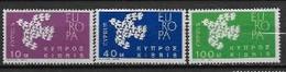 Chypre 1961 Neufs ** N° 189/191 Europa - 1961