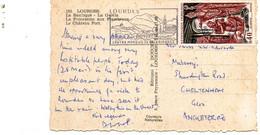 Timbre Clovis N°1496 Seul Sur Carte Postale Pour L'Angleterre. - 1961-....
