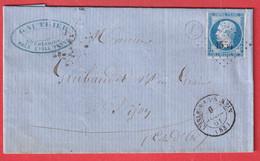 N°14 PC 1554 L'ISLE SUR LE SEREIN YONNE BOITE RURALE L SAINTE COLOMBE POUR DIJON COTE D'OR - 1849-1876: Klassik