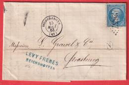 N°22 GC 2657 NIEDERBRONN BAS RHIN BOITE RURALE N REICHSHOFFEN 1863 POUR STRASBOURG - 1849-1876: Klassik