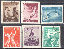Poland 1955 2nd International Youth Games - Mi 934-39B - Used - Used Stamps