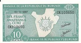 BURUNDI 10 FRANCS 2007 UNC P 33 E - Burundi