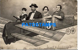 161114 ARGENTINA COSTUMES FAMILY IN AVIATION CURTAIN TELON REAL PHOTO POSTAL POSTCARD - Argentina