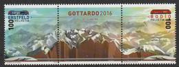 SWITZERLAND 2016 Opening Of The Gotthard Base Tunnel, Michel Nr. 2443-2444 (Scott No. 1606) MNH Pair W/ Center Label - Nuevos