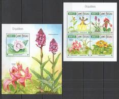 ST931 2015 GUINE GUINEA-BISSAU FLORA FLOWERS ORCHIDS ORQUIDEAS KB+BL MNH - Orchids