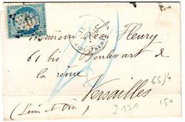 20 C SIEGE Obl PARIS 1871 , TAXE ALLEMANDE 20 Lettre Pour Versailles - 1877-1920: Période Semi Moderne