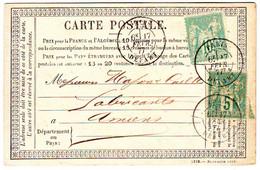 10 Et 5 C SAGE Obl PARIS DEPART Sur Carte Precurseur 1877 , TTB - 1877-1920: Semi Modern Period