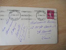 1934 , Valenciennes 4 Eme Floralies Valenciennoise Flamme Omec - 1921-1960: Modern Period