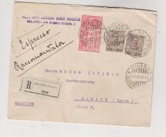 ITALY 1908 MILANO Registered Priority Cover To Zagreb Croatia Hungary Austria - Storia Postale