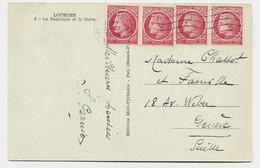 MAZELIN 1FRX4 CARTE 5 MOTS LOURDES 1948 POUR SUISSE AU TARIF - 1945-47 Ceres De Mazelin