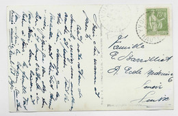 PAIX 75C OLIVE SEUL CARTE C. PERLE YVOIRE 24.8.1939 HAUTE SAVOIE POUR GENEVE TARIF FRONTALIER - 1932-39 Vrede