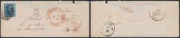 """Médaillon - N°6 Margé Sur Env. Obl P62 çàd Huy (1857) > Bensberg + Cachet Rouge """"Belgien Par Aachen / Franco"""" - 1851-1857 Medallions (6/8)"""
