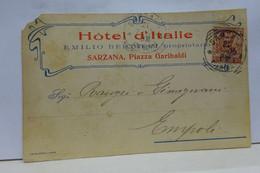 SARZANA  -- LA SPEZIA  ---  EMILIO  BERTIERI  -- HOTEL D'ITALIE - La Spezia