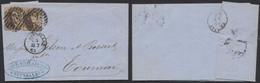 Médaillon Dentelé - N°14 X2 Sur LAC à En-tête Obl P24 çàd Bruxelles > Tournai / Filature De Coton (Obourg) - 1863-1864 Médaillons (13/16)