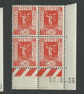 Paire De Coin Daté Exposition Internationale N° 325  Du 1 9 1936  * * Planche C Et D - 1930-1939