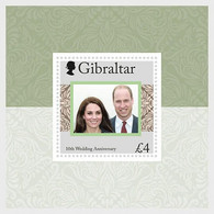 Gibraltar MNH ** 2021  The Duke & Duchess Of Cambridge 10th Wedding Anniversary Block - Gibraltar