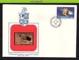 Mit022b TRANSPORT RUIMTEVAART COMET HALLEY  SPACE GOLDEN FOIL STAMP GOUDFOLIE ZEGEL ST. VINCENT 1986 FDC - América Del Sur